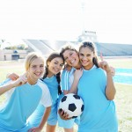 Smiling Female Soccer Players